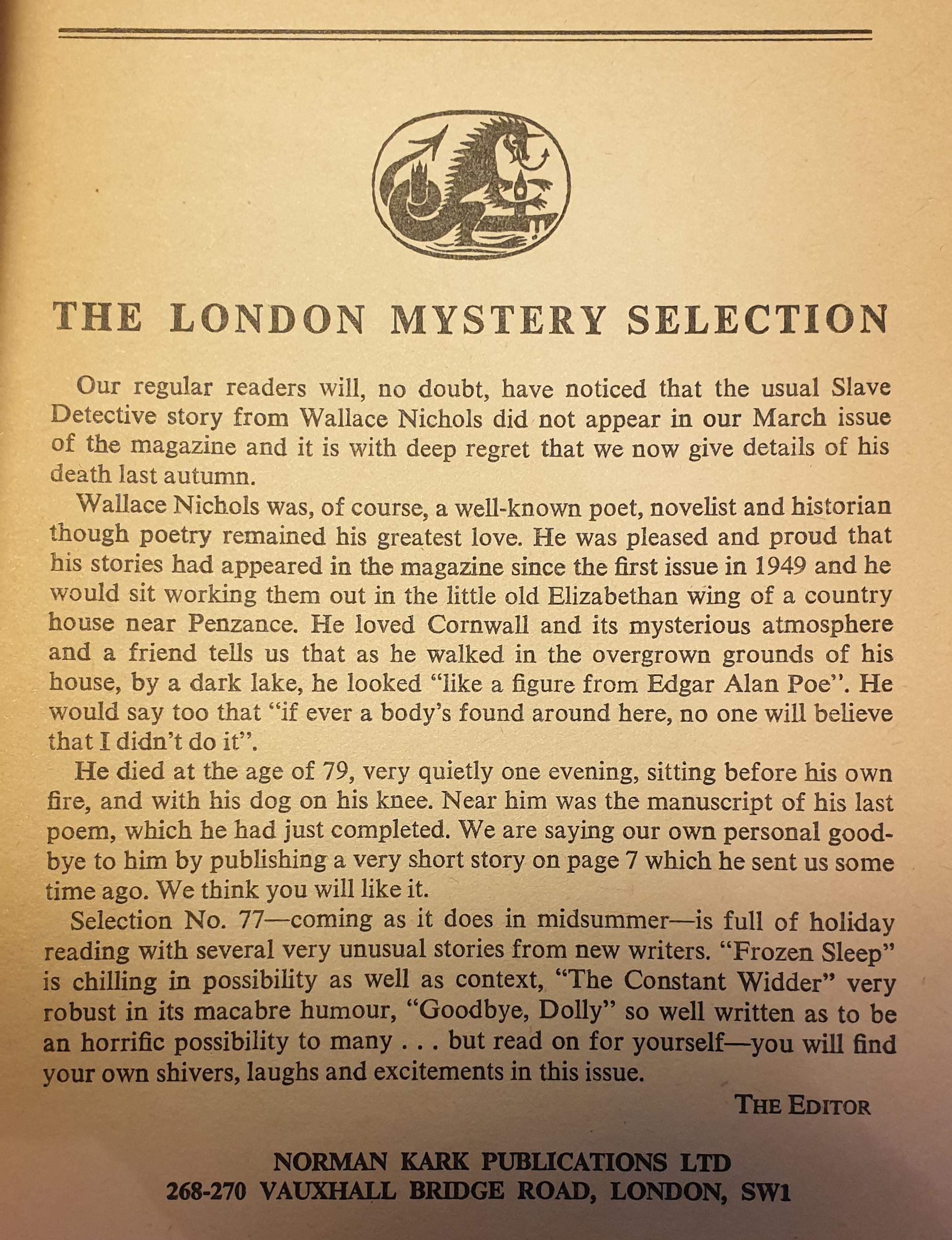 London Mystery Magazines Obituary of Wallace Nichols